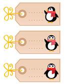 Cute christmas Penguin tags isolated on white ( retro ) — Stok Vektör