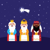 Three wise men bringing gifts to Christ ( night scene ) — Stock Vector