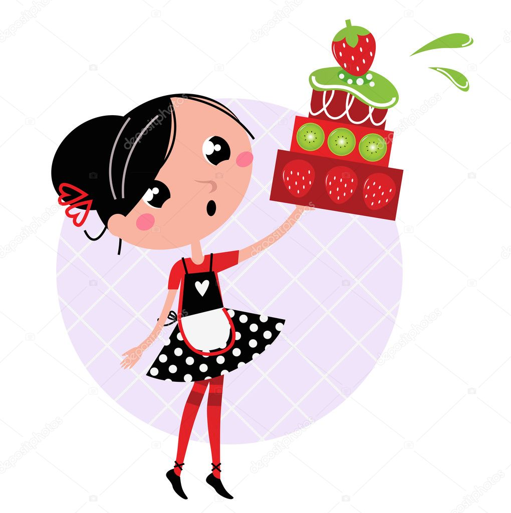 Retro Kitchen Girl With Big Fruity Cake Isolated On White Stock
