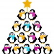 Cute Penguins creating Christmas Tree — Stock Vector