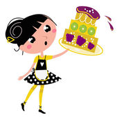 Retro kitchen Girl with big fruity Cake isolated on white — Stock Vector