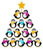 Cute Penguins creating Christmas Tree — Stock Vector