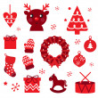 Vector collection of christmas retro elements — Stock Vector