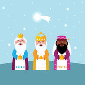 Three wise men bringing gifts to Christ — Stock Vector