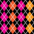Retro colorful argile pattern - orange and pink on black — Stock Vector