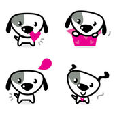 Cute valentine dogs set isolated on white — Stock Vector