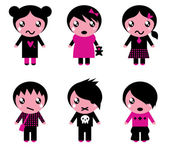 Emo kids cute collection isolated on white — Stock Vector