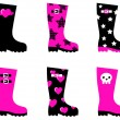 Royalty-Free Stock Vector Image: Emo rain boots for young adults isolated on white