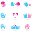 Hands and Love abstract icons collection — Stock Vector