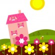 Pink house behind spring flowers - Stock Vector