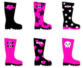 Emo rain boots for young adults isolated on white — Stock Vector