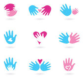 Hands and Love abstract icons collection — Vettoriale Stock