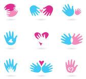Las manos y colección de iconos abstractos de amor — Vector de stock