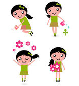 Cute little girl with spring Flowers isolated on white — Stock Vector