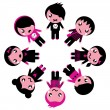 Emo kids circle isolated on white — Stock Vector
