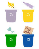 Garbage separation boxes by colors isolated on white — Stock Vector