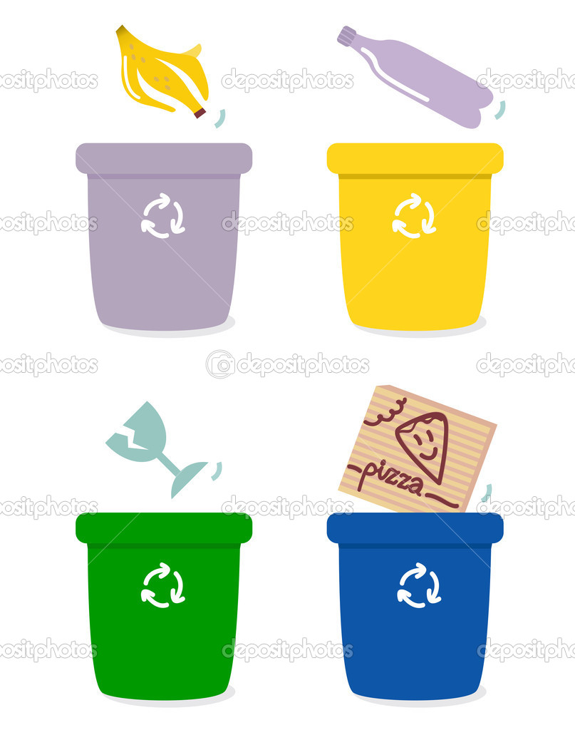 The four separation boxes for common garbage. Vector Illustration — Stock Vector #8555953