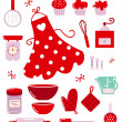 Icons or accessories for housewife isolated on white — Vector de stock