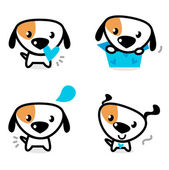 Cute blue valentine dogs set isolated on white — Stock Vector