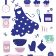 Icons or accessories for housewife isolated on white — Imagen vectorial