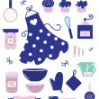 Symbole oder Zubehör für Hausfrau isoliert auf weiss — Stockvektor