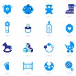 Royalty-Free Stock Imagen vectorial: Vector blue Icons collection for baby boy isolated on white