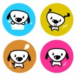 Cute dog colorful buttons isolated on white — Stock Vector