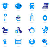 Vector blue Icons collection for baby boy isolated on white — Stock Vector