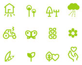 Agriculture & farming icons set isolated on white ( green ) — Stock Vector