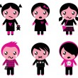 Cute emo kids collection isolated on white — Stock Vector