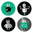 Royalty-Free Stock Vector Image: Cute retro robots badget collection isolated on white