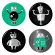 Cute retro robots badget collection isolated on white - Stock Vector