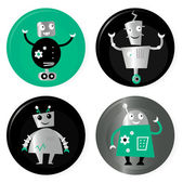 Cute retro robots badget collection isolated on white — Stock Vector