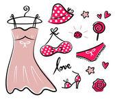 Mode-retro rode iconen en accessoires voor romantiek meisje — Stockvector