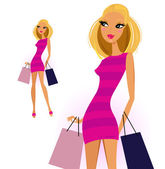 Blond woman with shopping bags isolated on white background — Stock Vector