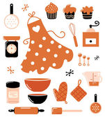 Baking icons or accessories set isolated on white ( orange ) — Stock Vector