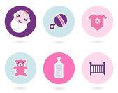 Baby pictogrammen en toebehoren set geïsoleerd op wit — Stockvector