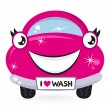Cute pink car wash isolated on white — Stock Vector