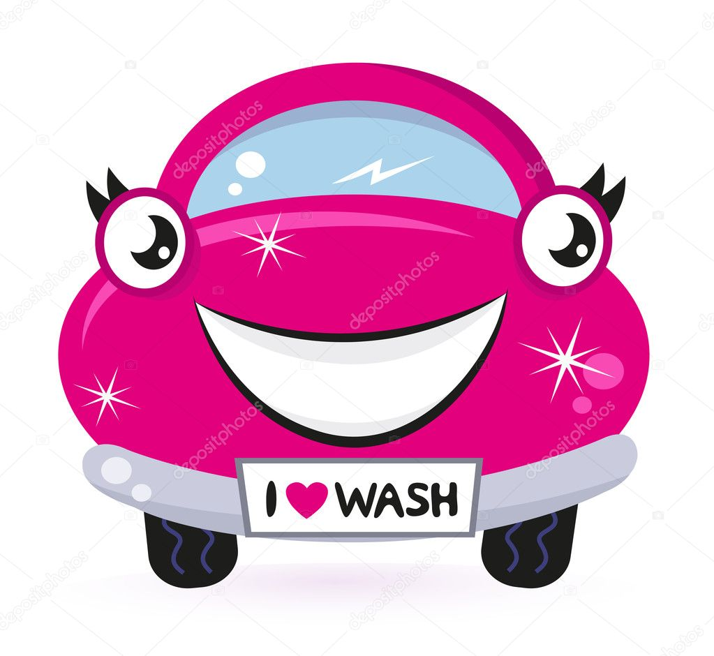 Car wash - happy pink cartoon automobile. Vector  Stock Vector #9044829