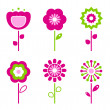 Set of retro flower elements for easter / spring - Stockvektor