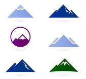 Mountain icon set isolated on white — Stock Vector