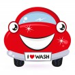 Cute red car wash isolated on white — Stock Vector