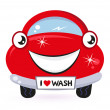 Stock Vector: Cute red car wash isolated on white
