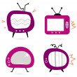 Old retro pink TV collection isolated on white — Stock Vector