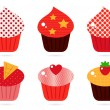 Retro cupcakes set isolated on white — Stock Vector