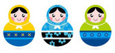 Russian doll serries isolated on white — Stock Vector