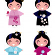 Cute Geisha set isolated on white — Stock Vector #9291824