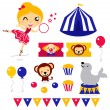 Fun circus icons and elements set isolated on white — Stock Vector