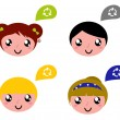 Cute recycle kids with speech bubbles set — Stock Vector