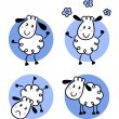 Cute doodle sheep collection isolated on white — Stock Vector